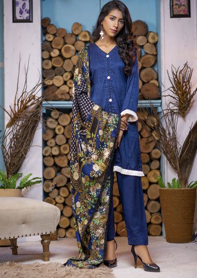 Blue Readymade Marina Winter Shawl Suit - Pakistani Designer - Memsaab Online