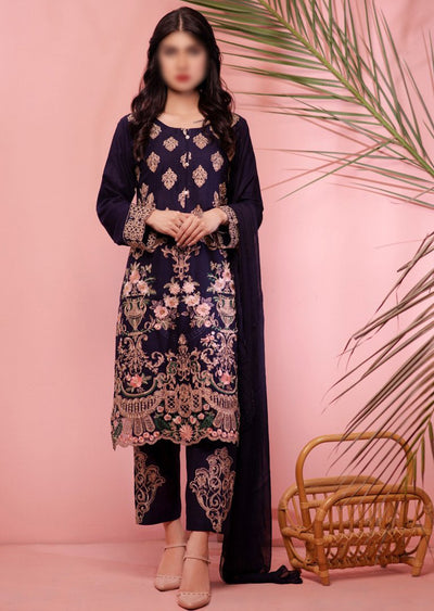 HK08 Readymade Blue Embroidered Linen Suit - Memsaab Online