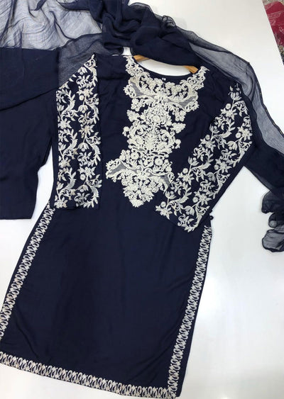 HK29 Readymade Navy Embroidered Linen Suit - Memsaab Online