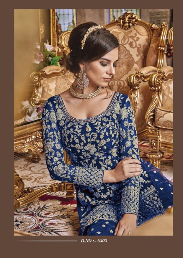 Unstitched - Blue Violet Inspired Fancy Partywear Suit - Memsaab Online