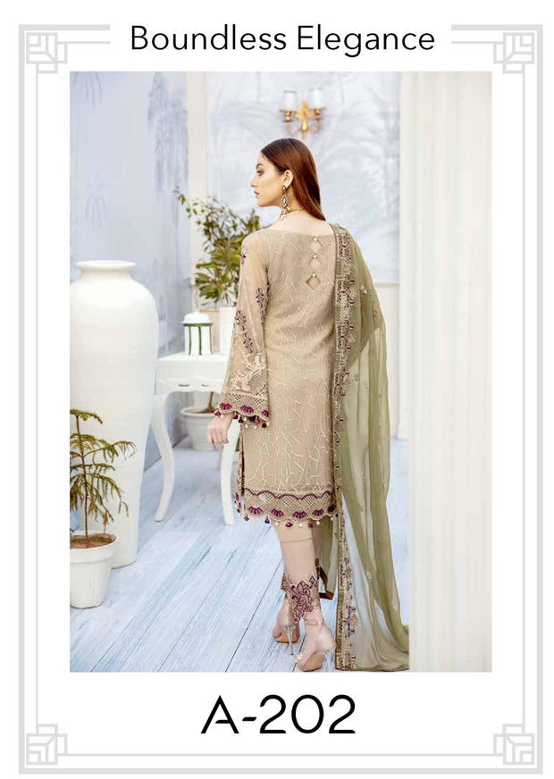 Boundless Elegance - Unstitched Chiffon Suit - Chevron Vol 2 Ramsha - Memsaab Online