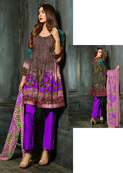 EST106 - Brown/Purple - Estelle by Memsaab - Linen Peplum suit with Handwork - Pakistani designer - Memsaab Online