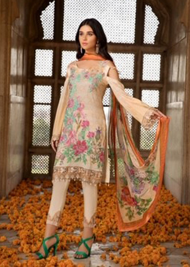 13c3928196 C-11 Creamy Peach - Unstitched - Chevron Mid Summer Lawn Collection by  Ramsha -