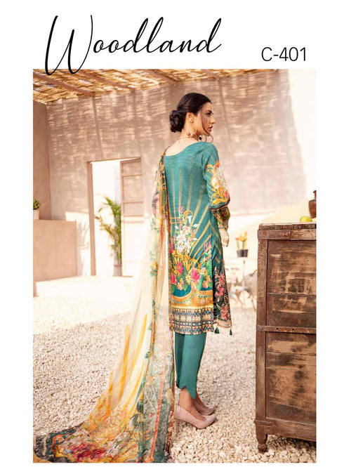 C-401 Unstitched Chevron Luxury Lawn Collection Vol 4 - Memsaab Online