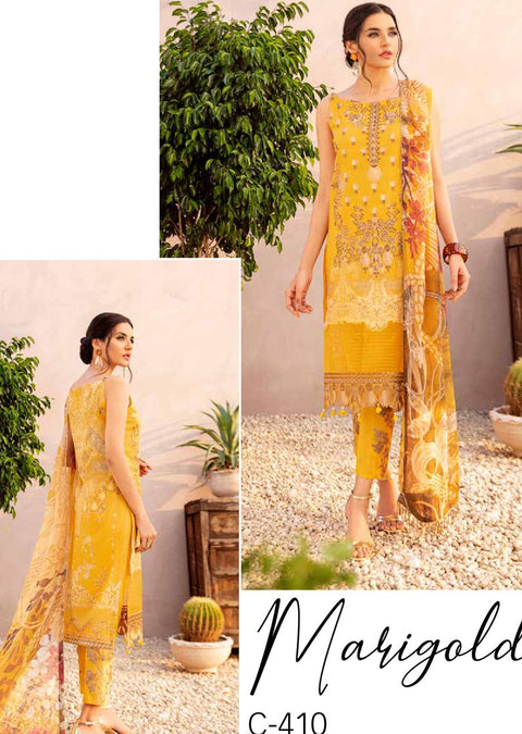 C-410 Unstitched Chevron Luxury Lawn Collection Vol 4 - Memsaab Online
