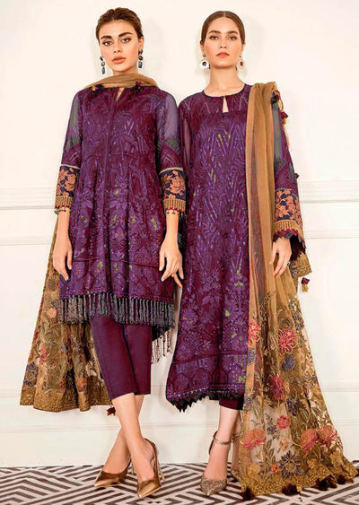 Cerise - Plum Unstitched Baroque Chantelle Embroidered Chiffon Suit - Memsaab Online