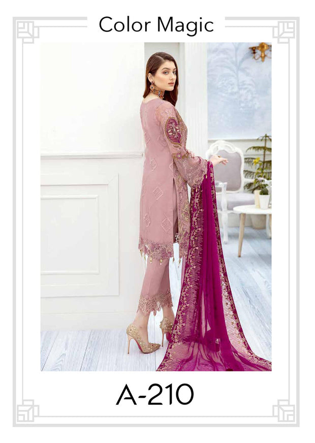 Color Magic - Unstitched Chiffon Suit - Chevron Vol 2 Ramsha - Memsaab Online