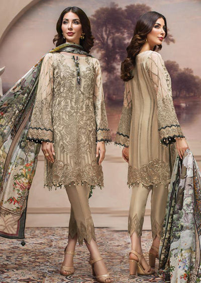 08 Shahwar - Unstitched - Cream - SHAHNAMEH Embroidered Chiffon Eid Collection by Jazmin - Unstitched Pakistani elite Designer suit - Memsaab Online