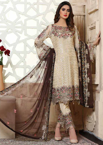 D-202 Cream Unstitched Ramsha Rangoon - Memsaab Online
