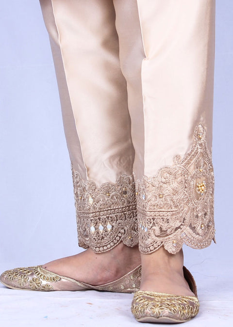DXTS02 Cream Silk Embroidered Trouser - Memsaab Online