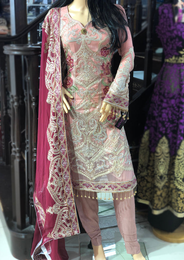 05 Cyra Pink Baroque Jazmin Shahnameh Inspired Readymade Suit - Pakistani Designer Fancy Chiffon Readymade Embroidered Suit - Memsaab Online