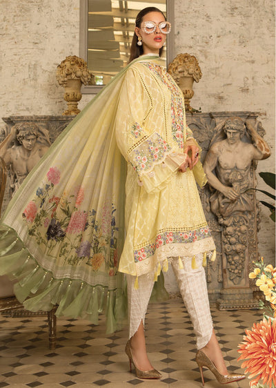 D10 Maria B Lawn Eid Collection 2019 - Unstitched Pakistani Designer Embroidered Suit - Memsaab Online