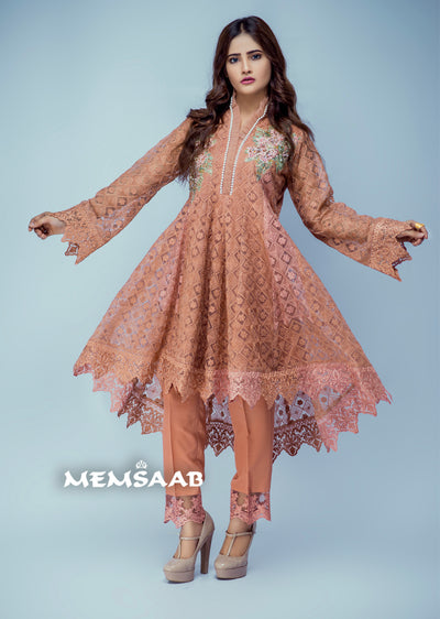 Sakeena - Peach - Eternal by Memsaab - Ready to Wear Pakistani Designer Suit with handwork - Memsaab Online