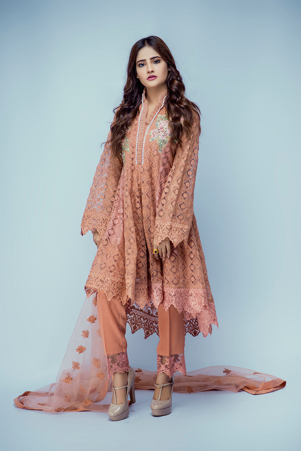 D10 - Sakeena - Peach - Eternal by Memsaab - Ready to Wear Pakistani Designer Suit with handwork - Memsaab Online