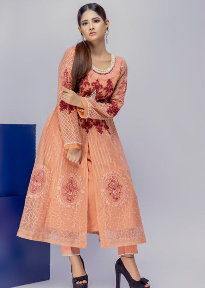 Saffron - Peach - Eternal by Memsaab - Ready to Wear Pakistani Designer Suit with handwork - Memsaab Online