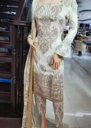 SDQ32D Readymade Cream Embroidered Summer Lawn Suit - Memsaab Online
