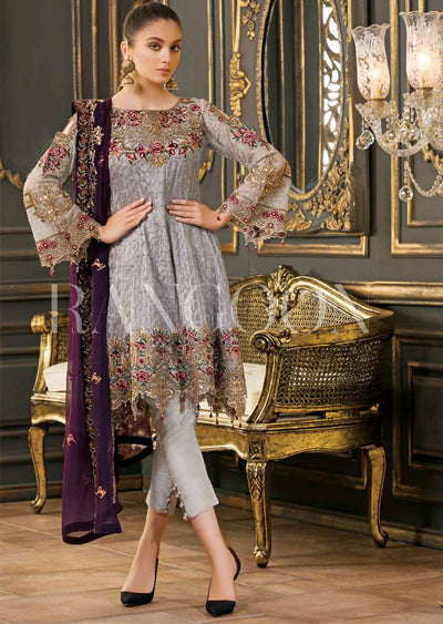 D-202 Grey Unstitched Ramsha Rangoon - Memsaab Online