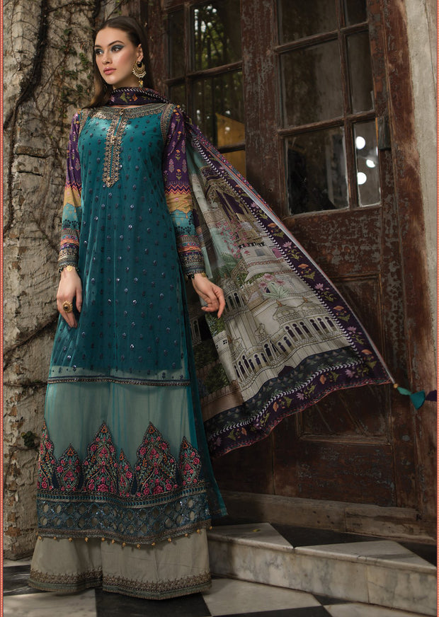 D3 Maria B Lawn Eid Collection 2019 - Unstitched Pakistani Designer Embroidered Suit - Memsaab Online