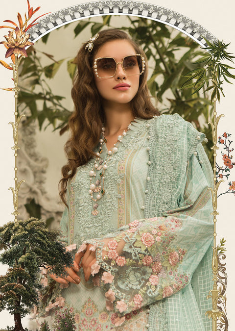 D4 Maria B Lawn Eid Collection 2019 - Unstitched Pakistani Designer Embroidered Suit - Memsaab Online