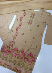 D6 Readymade Gold Linen Embroidered Suit - Memsaab Online