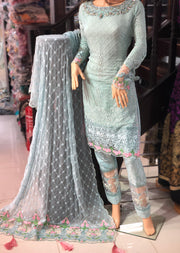 D7 Maria B Inspired Inspired Readymade Suit - Pakistani Designer Fancy Chiffon Readymade Embroidered Suit - Memsaab Online