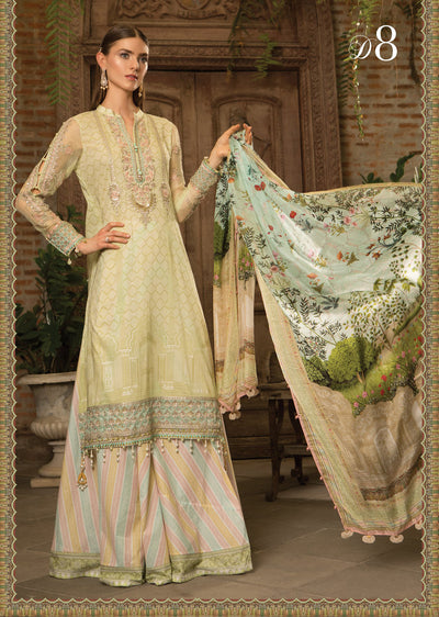 D8 Maria B Lawn Eid Collection 2019 - Unstitched Pakistani Designer Embroidered Suit - Memsaab Online