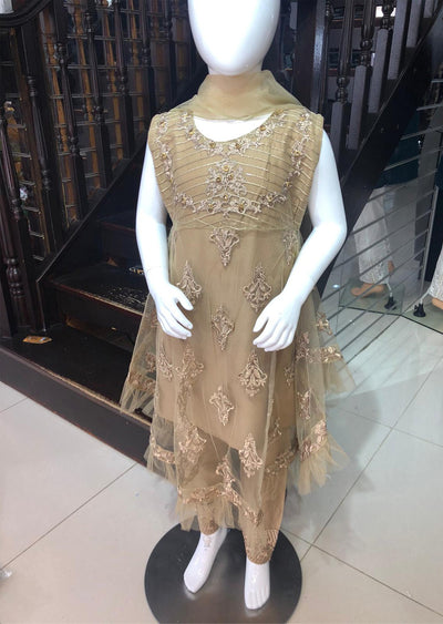 BLG920 Gold Readymade Mother & Daughter Net Suit - Memsaab Online