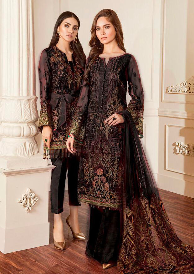 06 Damask - Black - Chantelle Embroidered Chiffon by Baroque - Memsaab Online