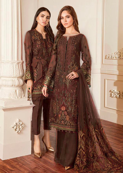 06 Damask - Dark Brown - Chantelle Embroidered Chiffon by Baroque - Memsaab Online