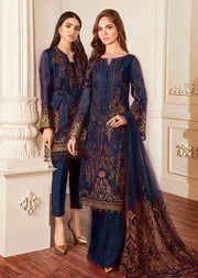 06 Damask - Navy - Chantelle Embroidered Chiffon by Baroque - Memsaab Online