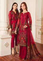06 Damask - Red - Chantelle Embroidered Chiffon by Baroque - Memsaab Online