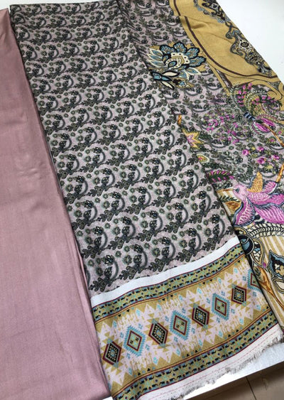 Unstitched Printed Linen Suit with Woollen Shawl - Memsaab Online
