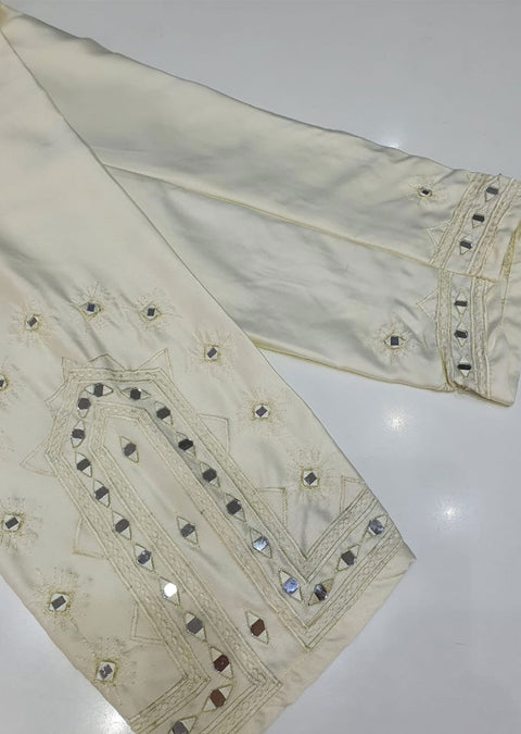 DXT209 Cream Silk Embroidered Trouser - Memsaab Online