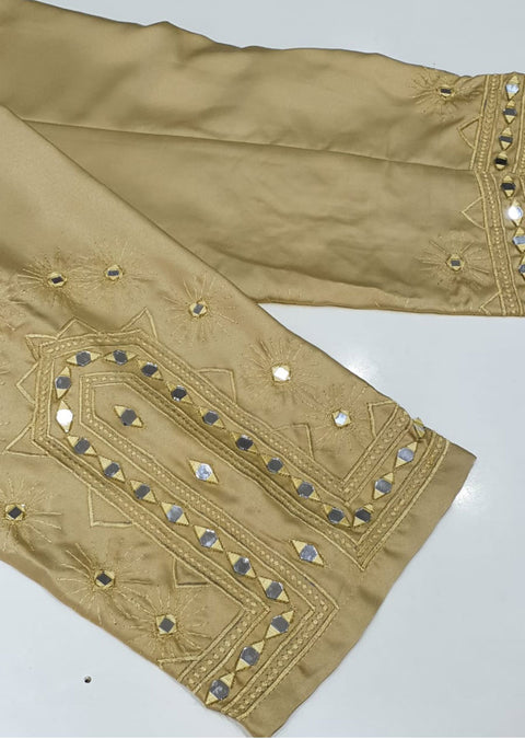 DXT209 Gold Silk Embroidered Trouser - Memsaab Online