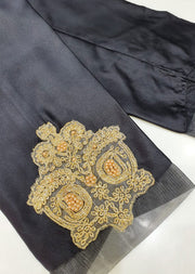 DXT210 Black Silk Embroidered Trouser - Memsaab Online