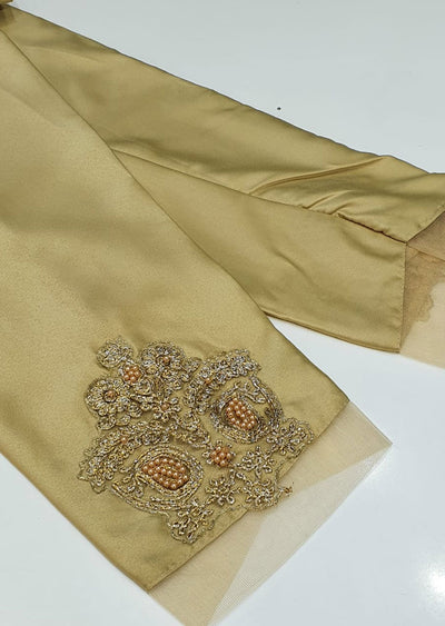 DXT210 Gold Silk Embroidered Trouser - Memsaab Online