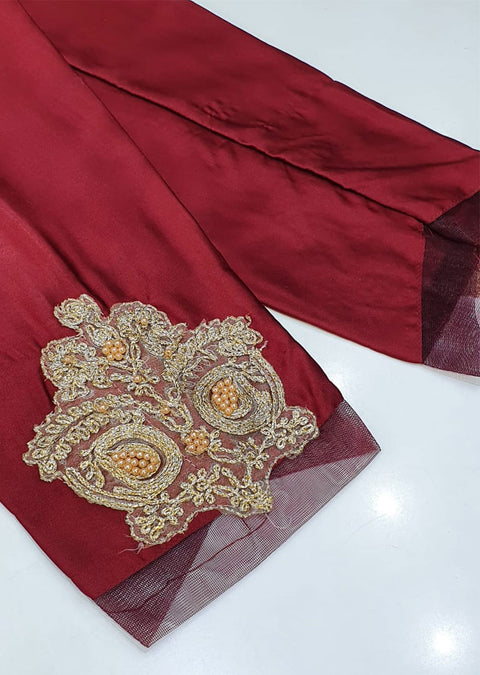 DXT210 Maroon Silk Embroidered Trouser - Memsaab Online
