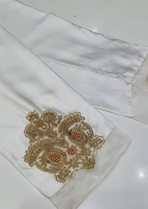 DXT210 White Silk Embroidered Trouser - Memsaab Online