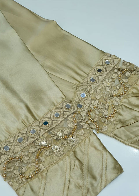 DXT211 Gold Silk Embroidered Trouser - Memsaab Online