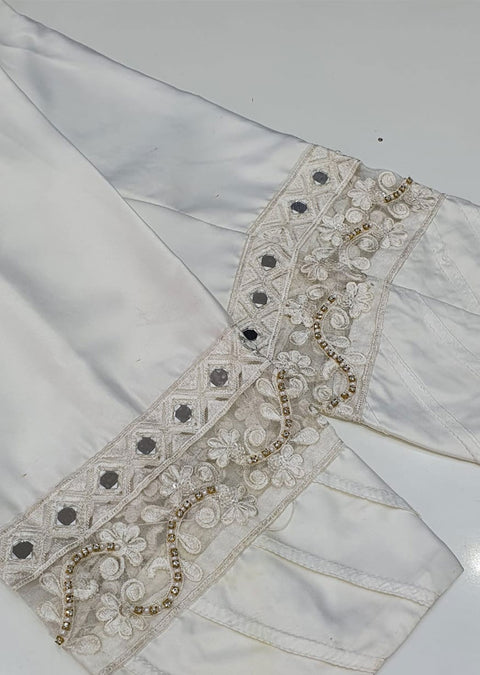 DXT211 White Silk Embroidered Trouser - Memsaab Online
