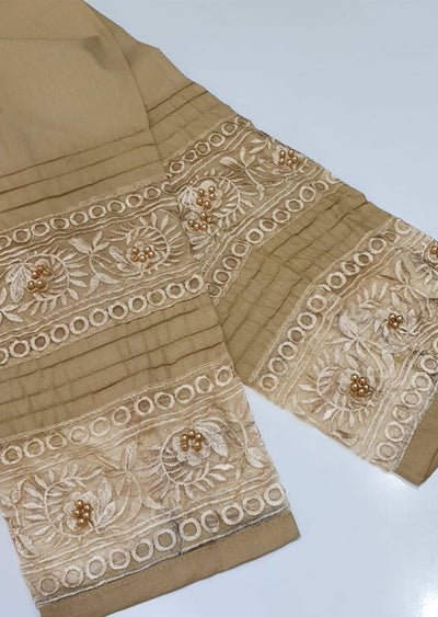 DXT212 Gold Cotton Embroidered Trouser - Memsaab Online