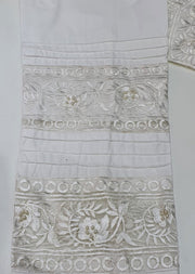 DXT212 White Cotton Embroidered Trouser - Memsaab Online