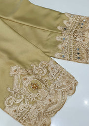 DXTS02 Gold Silk Embroidered Trouser - Memsaab Online