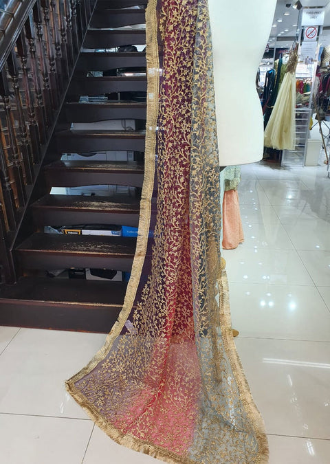 DXP02 E 3 Shaded Embroidered Net Duppatta - Memsaab Online