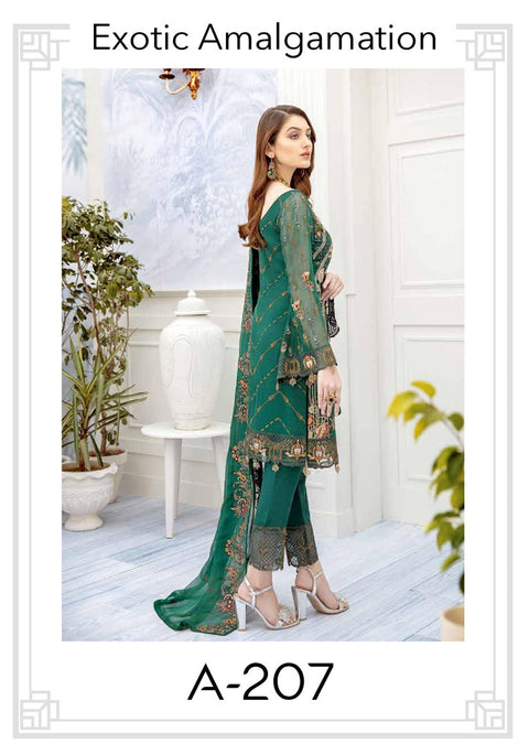 Exotic Amalgamation - Unstitched Chiffon Suit - Chevron Vol 2 Ramsha - Memsaab Online