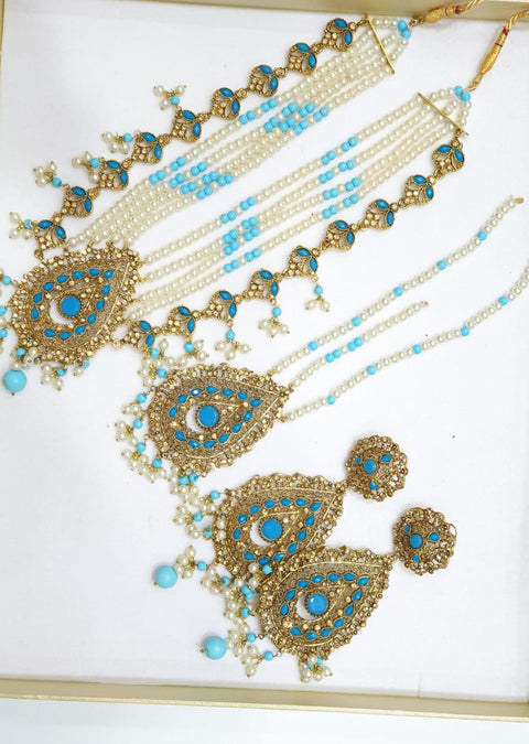 Ruhi -Ferozi- Necklace Set - Memsaab Online