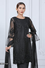 854 Black Readymade Formal Shaposh Net Suit - Memsaab Online