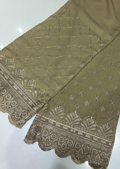 ZAT107 Gold Embroidered Linen Palazzo Trouser - Memsaab Online