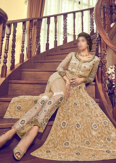 6003 Gold Unstitched Net Dress - Memsaab Online
