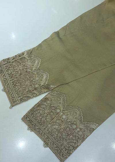 ZAT105 Gold Embroidered Linen Trouser - Memsaab Online